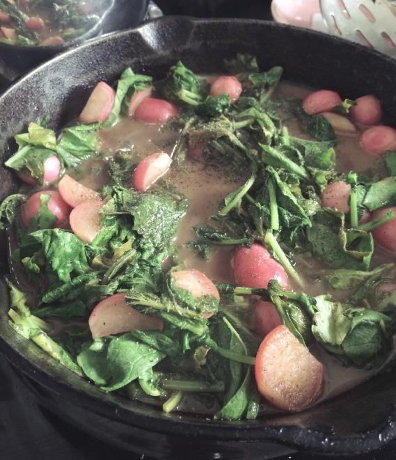 Braised balsamic radishes